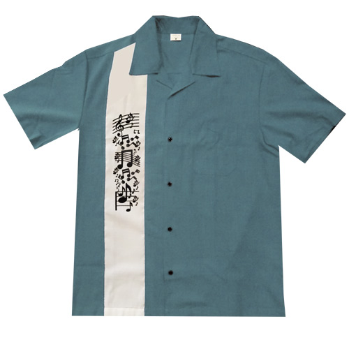 Music Note Bowling Shirt - Blue