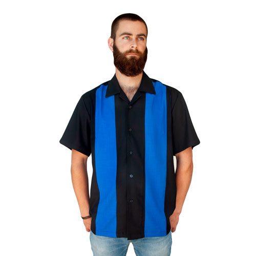 Double Panel Bowling Shirt - Black/Blue