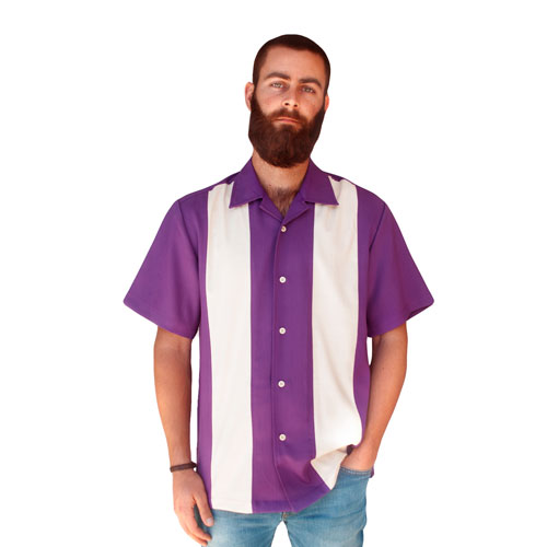 Double Panel Bowling Shirt - Purple/Cream