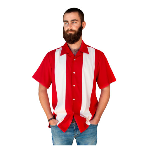Double Panel Bowling Shirt - Red/Cream