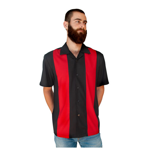 Double Panel Bowling Shirt - Black/Red
