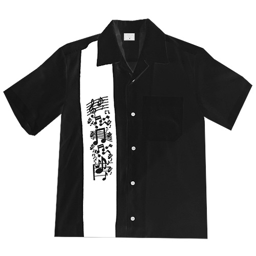 Music Note Bowling Shirt - Black
