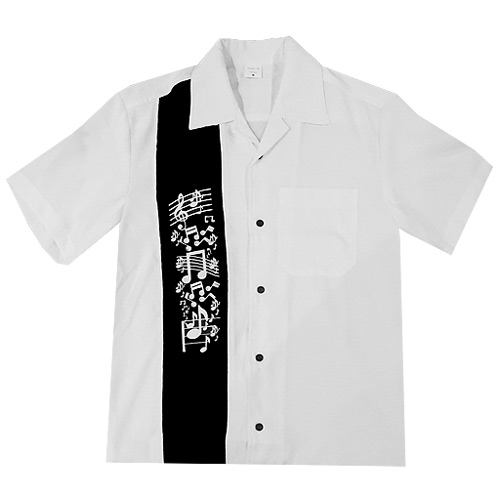 Music Note Bowling Shirt - White